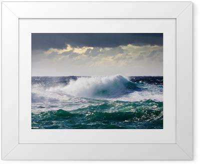 Gerahmtes Poster See Waves im Sturm