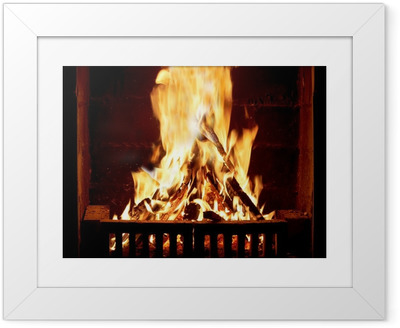 Burning fire in the fireplace Framed Poster