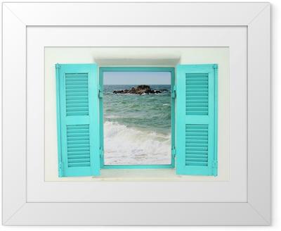 Póster com Moldura Greek style window with sea view