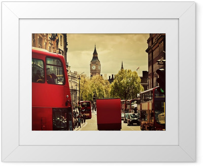 Busy street of London, England, the UK. Red buses, Big Ben Framed Poster