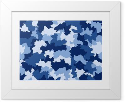Póster Enmarcado Camuflaje azul, seamless, patrón