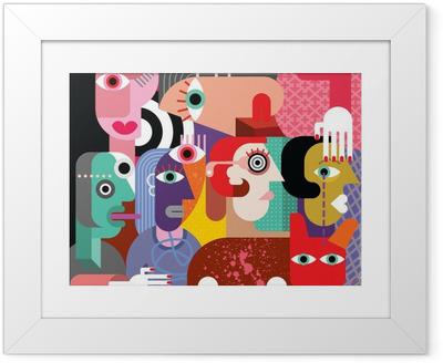 Gerahmtes Poster Sechs Frauen und Hund