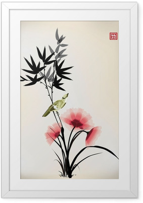 Poster i Ram Kinesisk bläck stil blomma fågel ritningen