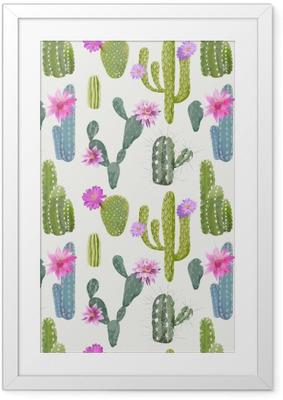 Gerahmtes Poster Vector Kaktus Hintergrund. Nahtlose Muster. Exotische Pflanze. Wendekreis