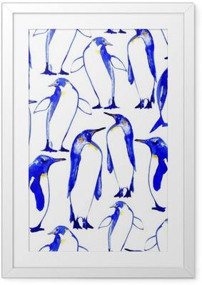 Gerahmtes Poster Penguins nahtlose pattern.Watercolor Hand gezeichnete Illustration.