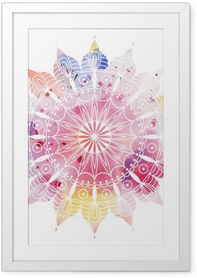 Poster i Ram Mandala färgrik vattenfärg. Vacker rund mönster. Detaljerad abstrakt mönster. Dekorativt isoleras.