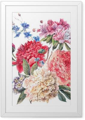 Poster i Ram Blom- kort med blommande pioner