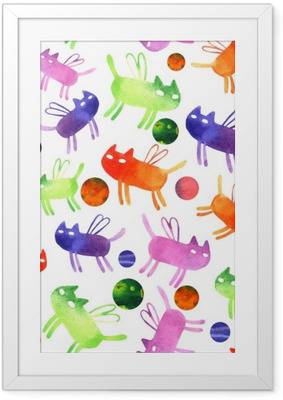 Gerahmtes Poster Aquarell Cat