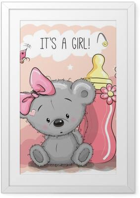 Cute Cartoon Bear girl Framed Poster