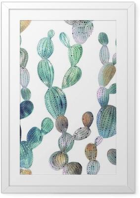 Poster i Ram Kaktus mönster i akvarell stil