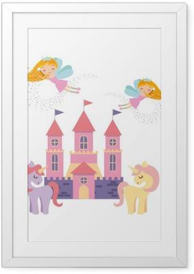 Gerahmtes Poster Niedlichen rosa Märchenschloss Vektor-Illustration Design