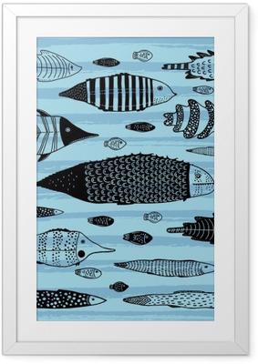 Ingelijste Poster Verzameling van grappige vissen