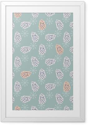Gerahmtes Poster Pinecone nahtlose Vektor-Muster. Blaue Kiefer Scrapbookpapier Design. Blauer Hintergrund.