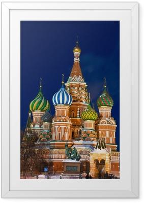 Pyhimyksen basilikan katedraali yöllä, moskova Kehystetty juliste