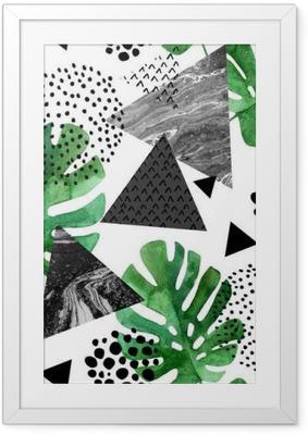 Plakat w ramie Akwarela tropikalnych liści i teksturowane tło trójkąty
