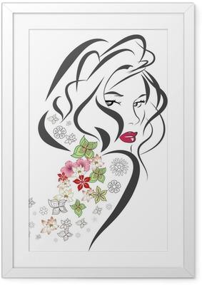 Ingelijste Poster Silhouet van de vrouw met bloemen