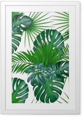 Sømløs håndtegnet realistisk botanisk eksotisk vektor mønster med grønne palme blade isoleret på hvid baggrund. Indrammet plakat