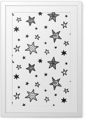 Poster i Ram Sömlöst mönster med handgjorda stjärnor. skandinavisk stil