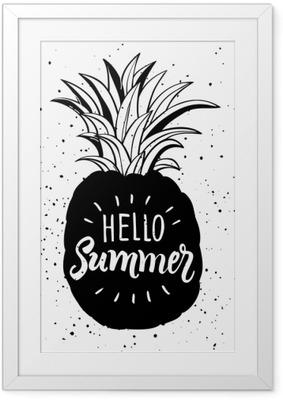 Bild i Ram Handritad illustration av isolerad ananas silhuett. typografiaffisch med bokstäver hallå sommar