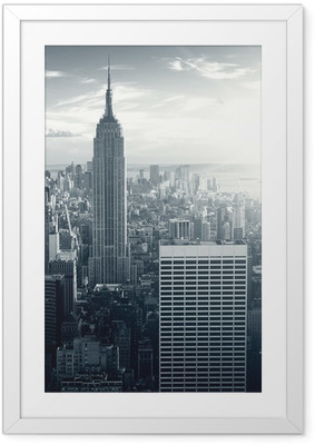 Poster en cadre Amazing view to New York Manhattan at sunset - Thèmes