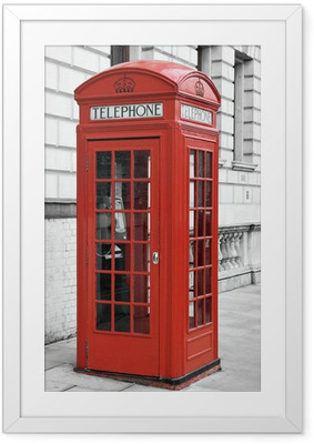 Red telephone booth in London, England Framed Poster