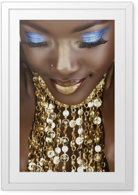 African woman with gold Framed Poster