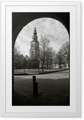 Poster in Cornice Paesaggio urbano di Groningen, con la torre Martini