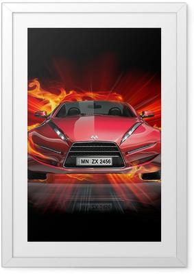 Poster en cadre Incendie de voiture