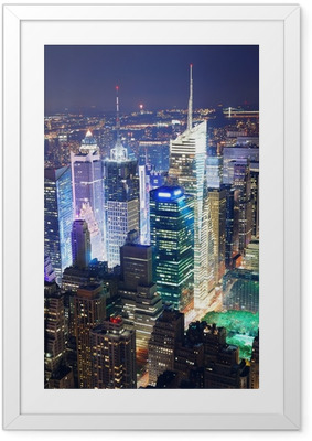 Times Square aerial view at night Framed Poster