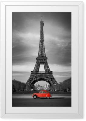 Póster Enmarcado Tour Eiffel et voiture rouge-Paris