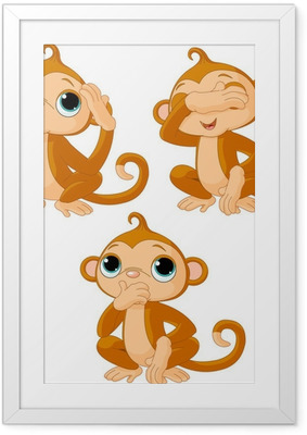Gerahmtes Poster Three little monkeys