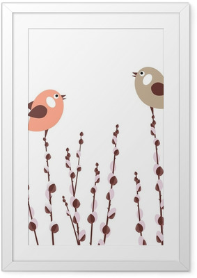 Pussy willow branches with small stylized birds Framed Poster