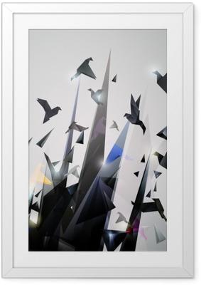 Çerçeveli Poster Kağıt Kaçış, Origami soyut vektör çizim.