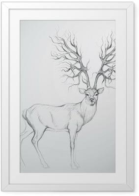 Hjorte med Antler som træ / Realistisk skitse Indrammet plakat