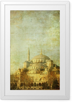 Póster com Moldura Vintage image of Blue Mosque, Istambul