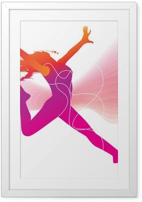 Gerahmtes Poster Der Tänzer. Bunte Silhouette mit Linien und Sprays auf abstrac