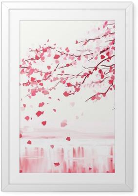Plakat w ramie Japoński wiśniowe drzewo