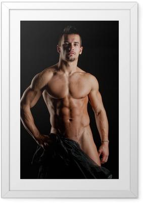 Poster en cadre Musculaire jeune homme nu sexy enveloppée dans la soie - Thèmes