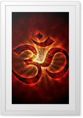 Ingelijste Poster Burning Aum