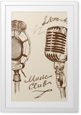 Gerahmtes Poster Vintage-Mikrofon doodles