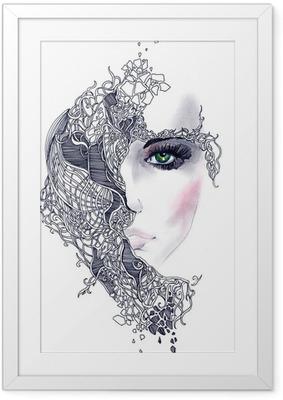 Gerahmtes Poster Abstrakte Frau Gesicht