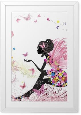 Plakat w ramie Flower Fairy w otoczeniu motyli