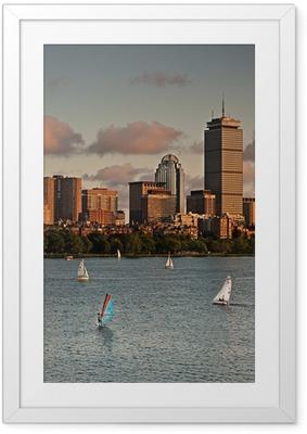 Gerahmtes Poster Goldener Sonnenuntergang über Boston