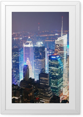 Ingelijste Poster New York City Manhattan Times Square skyline luchtfoto