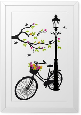 bicycle with lamp, flowers and tree, vector Framed Poster