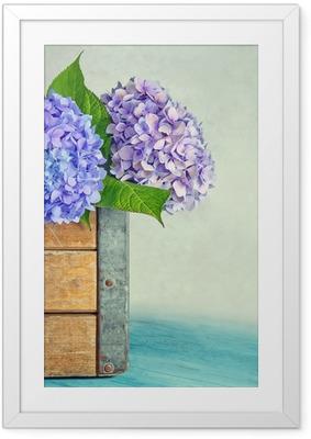 Plakat w ramie Niebieskie kwiaty hortensji w drewnianym pudełku