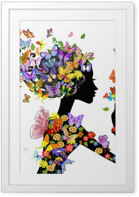 Gerahmtes Poster Mädchen Mode Blumen mit Schmetterlingen