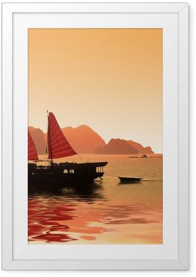 Poster en cadre Jonque Dans La Baie d'Halong - Vietnam