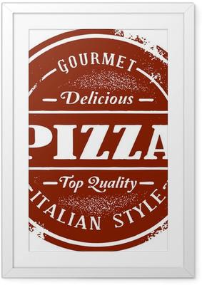 Gerahmtes Poster Klassiker Pizza Stamp