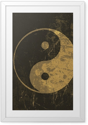 Yin yang grunge icon. With stained texture, vector Framed Poster